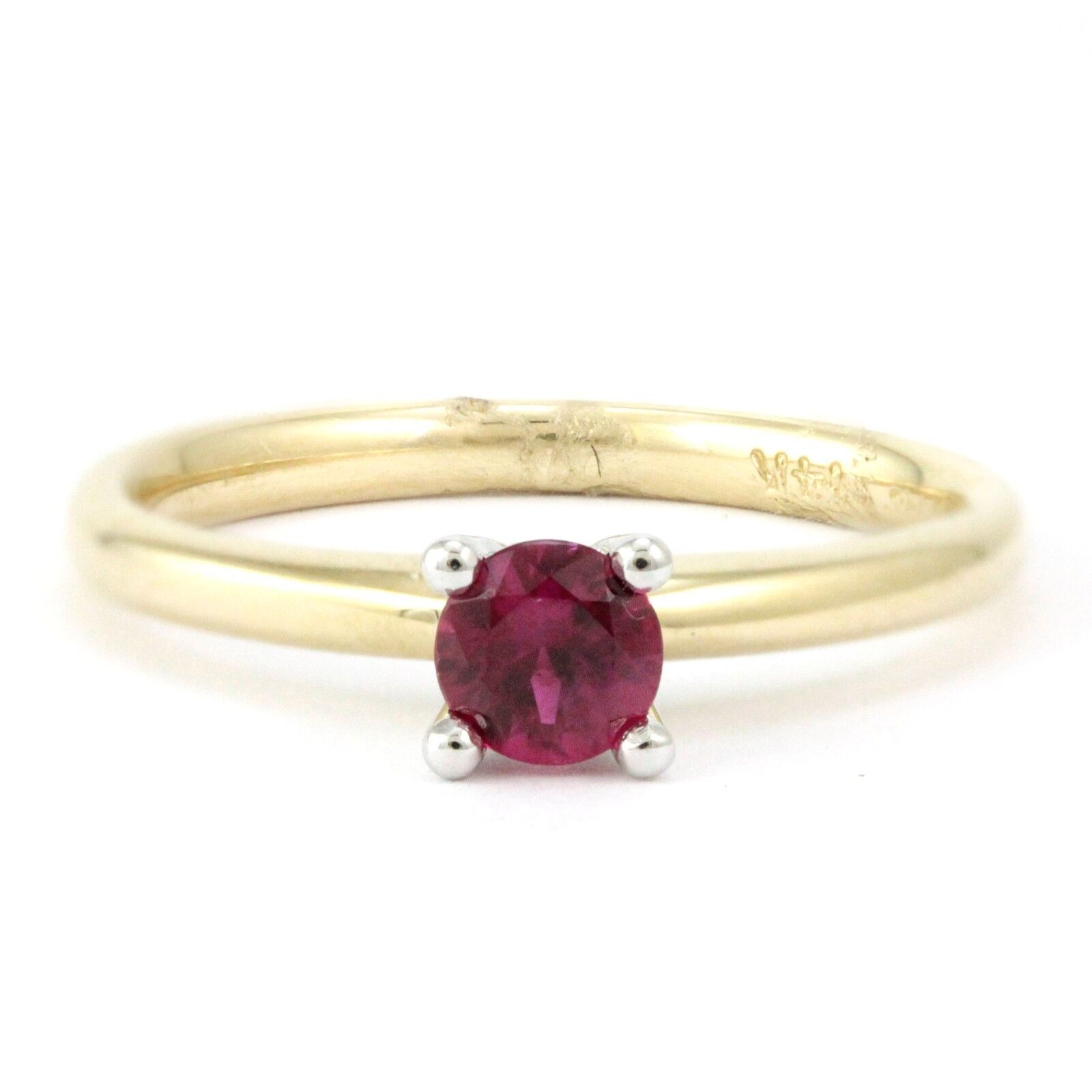 14k Yellow White gold Ruby Ring (new, 0.37ct, Sz  6.25)