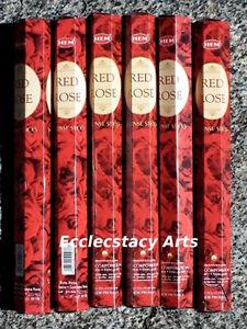 Hem-Red-Rose-Incense-20-40-60-80-100-120-Sticks-Floral-Scent-NEW