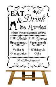 Rosa firma Bebidas Cocktail Bar Personalizado Boda Cartel Afiche