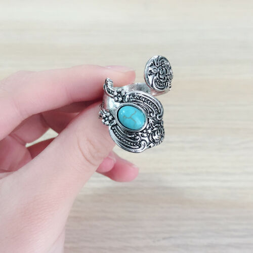 Vintage Bohemia Turquoise Ring 925 Silver Wedding Engagement Band Jewelry #6-10