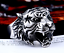 Anello-Tigre-Uomo-Acciaio-Inox-Fede-Massiccio-Donna-Unisex-Harley-Moto-Tiger miniatura 3