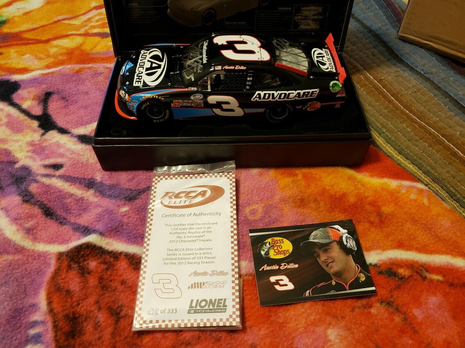 Austin Dillon 2012 Impala  3 Advocare Autographed Elite