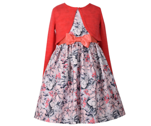 Bonnie-Jean-Girls-Easter-Holiday-Bow-Coral-Cardigan-Floral-Dress-Set-4-16