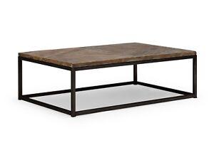 Details zu Couchtisch 120x80 grau Teak Metall Sofatisch massiv Holz Möbel  Barkley