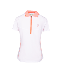Prince Womens Half Zip Polo Shirt (White Coral)
