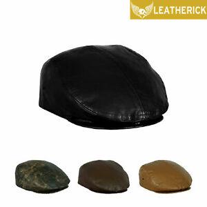 Mens-Leather-Ivy-Flat-Cap-Beret-Baker-Boy-Newsboy-Gatsby-Driver-Cabbie-Golf-Hat
