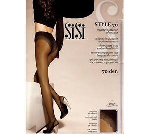 SISI-STYLE-70-Collant-voile-avec-culotte-slipee-dentelle-Taille-3-M-Noir