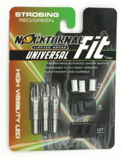 Nockturnal  Universal Fit Strobing Red//Green Lighted Nock ..3pk..