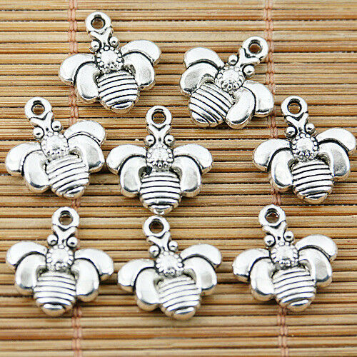 12pcs tibetan silver tone 2sided bee design charms EF1562