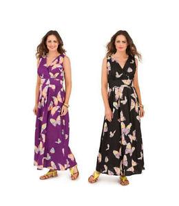 Venta-Estampado-de-Mariposas-algodon-larga-vestido-maxi-del-verano-Tamano-8-10-12-14-sin-mangas