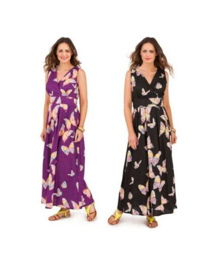 * vente Papillon longues Imprimé Coton Été Robe Longue Taille 8 10 12 14 sans manches