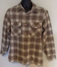 Vintage Pendleton Plaid Men's Shirt Sz Medium 1960s Wool Button Down