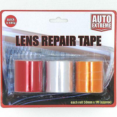 3 Roles Car Lens Light Indicators Rear Front Repair Tape Red Amber/Orange Clear
