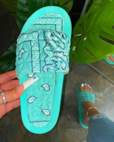 Womens Ladies Flat Sliders Summer Beach Sandals Mules Slippers Shoes Size 5-11