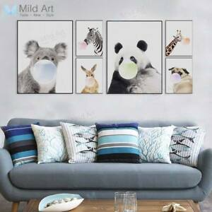 Image Is Loading Cute Animal Panda Koala Dog A4 Poster Canvas