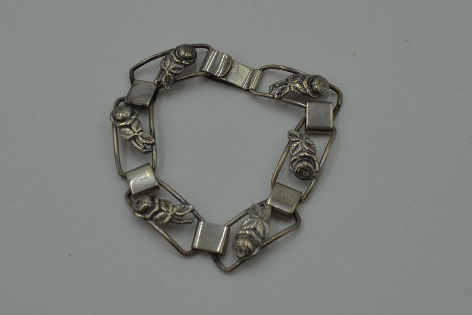 Sølv 830S armbånd med roser måler 20,4 cm pæn b...