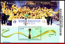 16-10 BRAZIL 2016 TRIBUTE FEMALE HANDBALL, WORLD CHAMPION IN 2013,SPORTS,S/S MNH