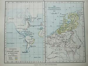 ANTIQUE PRINT MAP DATED ENGLAND SPAIN PORTUGAL NETHERLANDS - Portugal england map