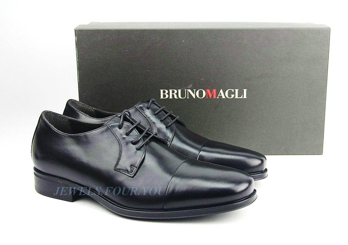 Bruno Magli Negro Hecho A Mano Oxfords Zapatos 100% Cuero Cordones Italia Nuevos Talle 9   68