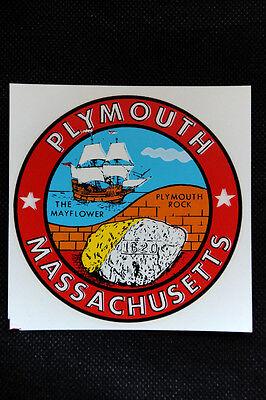 PLYMOUTH - Rock / Mayflower - Massachusetts- Travel Souvenir Luggage Auto Decal