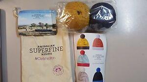 Cleckheaton-Superfine-Merino-Beanie-Kit-1-Mustard-amp-Smoke-Includes-Wool