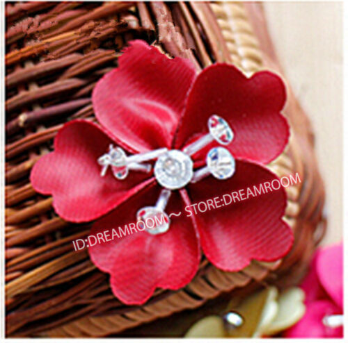 BF17 10pc Satin Ribbon Flower Crystal Beaded Appliques Crafts Sewing decoration