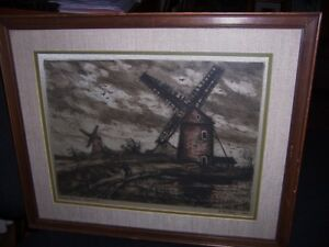 Antique Engraving Color Etching Windmills Original Radioung Signed Easy To Repair Art