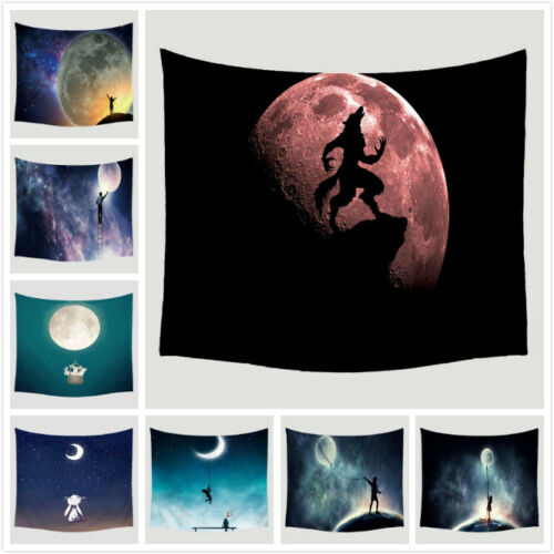 Indian Moon Men Tapestry Wall Hanging Home Decor Hippie Blanket  Night Animals