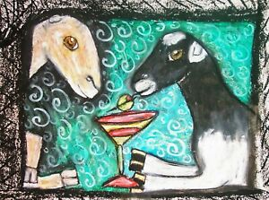 LAMANCHA-Drinking-a-Martini-Dairy-Goat-Farm-Countryside-Art-8-x-10-Print-Signed
