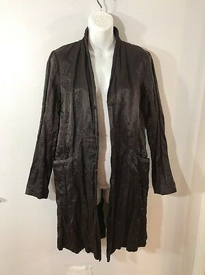 EILEEN FISHER Satin Metallic Drk Brown Crinkle Long Jacket Coat W/Pockets Sz P M