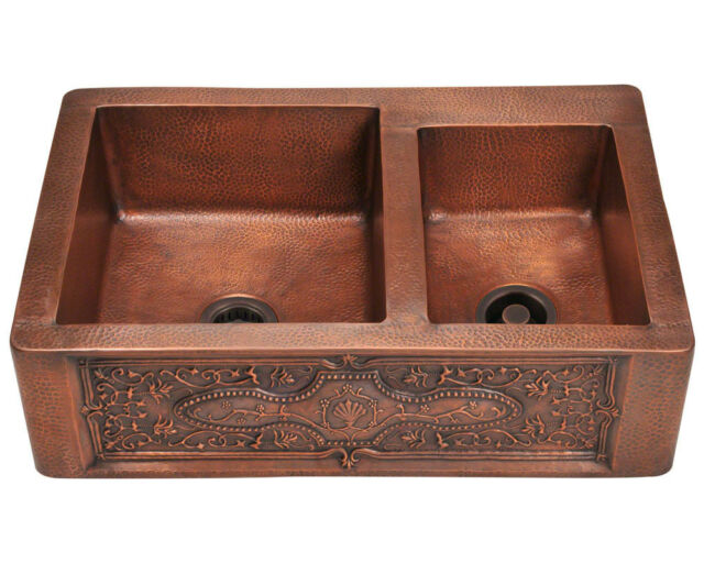 911 Offset Double Bowl Copper Apron Sink