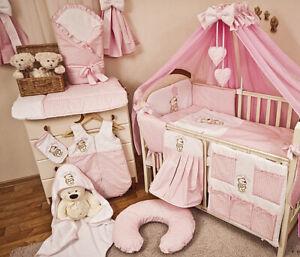 Babybett mit 10-tlg Komplett-Set Bettwäsche Matratze Nestchen Teddybär/rosa Neu