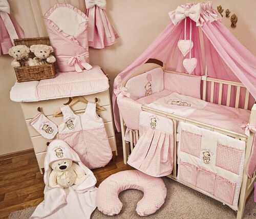 Babybett mit 10-tlg Komplett-Set Bettwäsche Matratze Nestchen Teddybär//rosa Neu