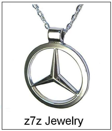 Mercedes Benz Emblème Collier-Grand Pendentif Argent Logo Auto Unisexe Bling mAh