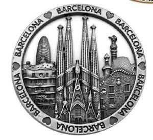 Barcelona-Gaudi-Sagrada-Familia-Metall-Magnet-round-Souvenir-Spanien-Espana