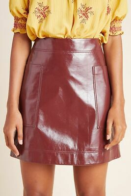 BURGUNDY WINE FAUX LEATHER PENCIL KNEE LENGTH SKIRT WITH POCKETS SIZE 6-18