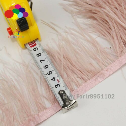 Pale Pink Fluffy Ostrich Feather Trim Wedding Dress Ribbon Fringe Decorat