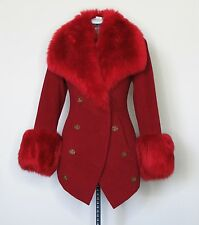 Vivienne Westwood Vintage Faux Fur Red Wool Coat IT42