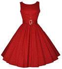 Ladies 1950's Vintage Style Red Polka Dot Button Detail Swing Dress New 8 - 18