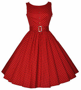 Ladies-1950-039-s-Vintage-Style-Red-Polka-Dot-Button-Detail-Swing-Dress-New-8-18