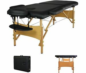 2 Pad 84 Black Portable Massage Table w Free Carry Case Bed Spa Facial T