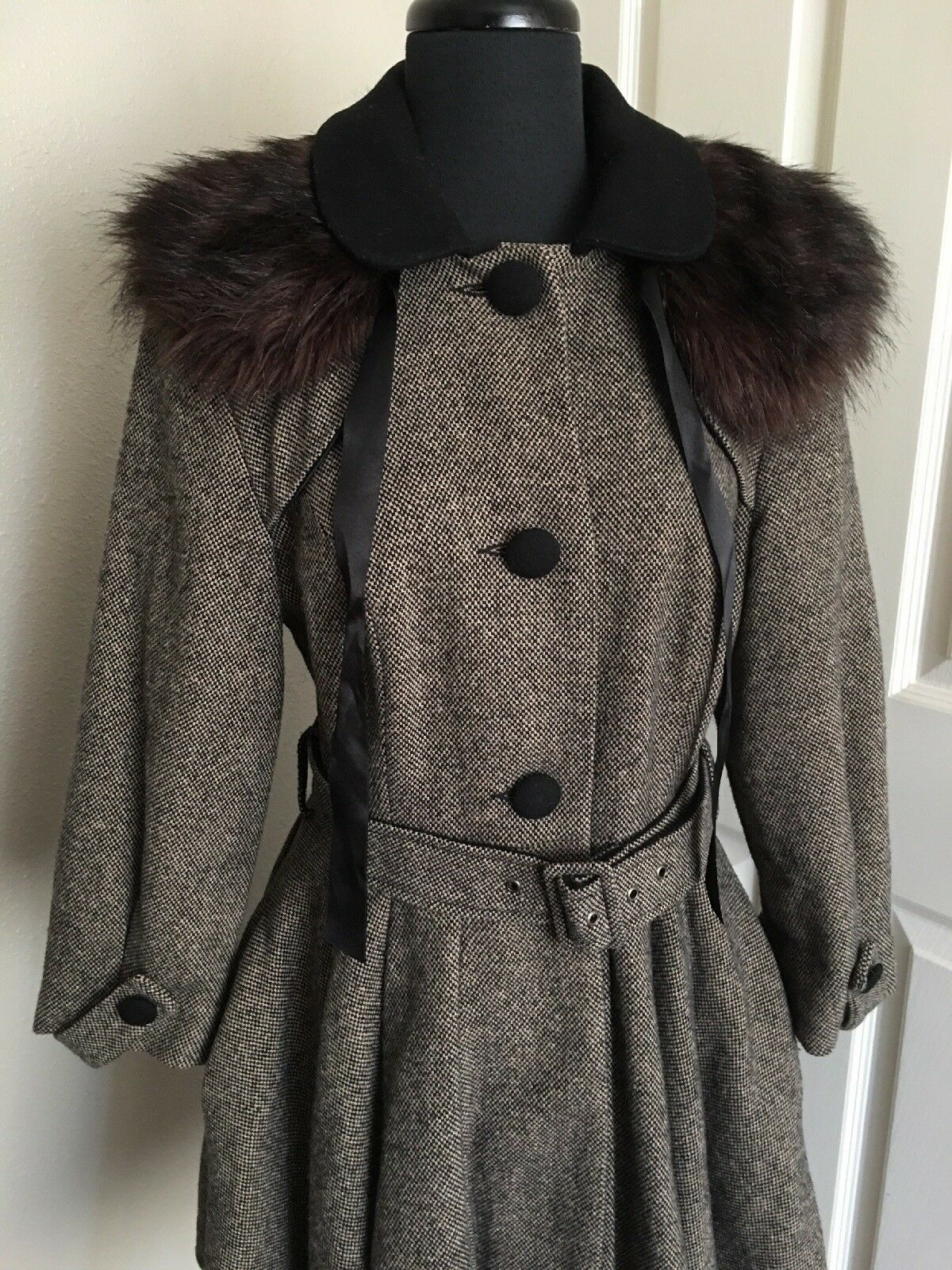 TOPSHOP FUR TWEED NEW HEAVY DUTY RARE FULLY LINED RARE DESIGN 12 USA