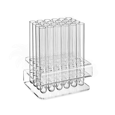 24-Loch Acryl-Halter mit Kunststoff Reagenzgläsern / Reagenzglashalter