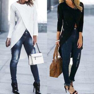 Long-Blouse-Shirt-Cross-Womens-T-Shirt-Asymmetrical-Sleeve-Tunics-Low-High-Tops