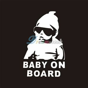 Funny Cool Baby On Board Vinyl Car Decal Sticker W Sunglasses - Cool car decal stickers
