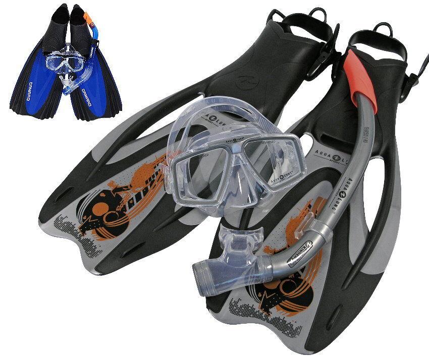 New Aqualung Camaro pro Adj Dive Set Size 36-48 Mask, Flippers, Snorkel