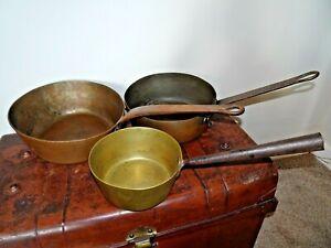 Antique-Set-of-3-Brass-amp-Copper-Saucepans-with-Cast-Iron-Handles-Cooking-Kitchen