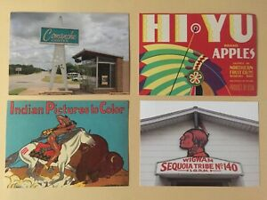 VINTAGE-NATIVE-AMERICAN-POSTCARDS-REPRINTS-LOT-OF-4-UNPOSTED-SMITHSONIAN