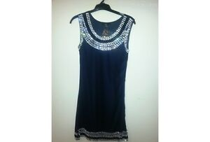 SIZE-8-LADIES-SLEEVELESS-NAVY-BLUE-GEMSTONE-SLEEVELESS-DRESS-BNWT