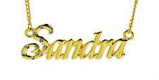 18k Chapado En Oro Con Collar Con Nombre Sandra-Elegante Accesorios Cumpleaños Personalizado
